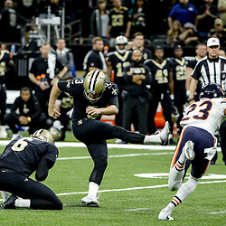 Oct 29, 2017; New Orleans, LA, USA; New Orleans Saints place kicker Wil Lutz (3) connects on a field goal during the second half of a game against the Chicago Bears at the Mercedes-Benz Superdome. The Saints defeated the Bears 20-12. Mandatory Credit: Derick E. Hingle-USA TODAY Sports