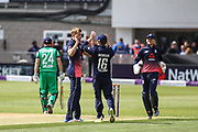 David Willey of England celebrates taking the wicket of Ed Joyce of Ireland; lbw, during the One Day International match between England and Ireland at the Brightside County Ground, Bristol, United Kingdom on 5 May 2017. Photo by Andrew Lewis.