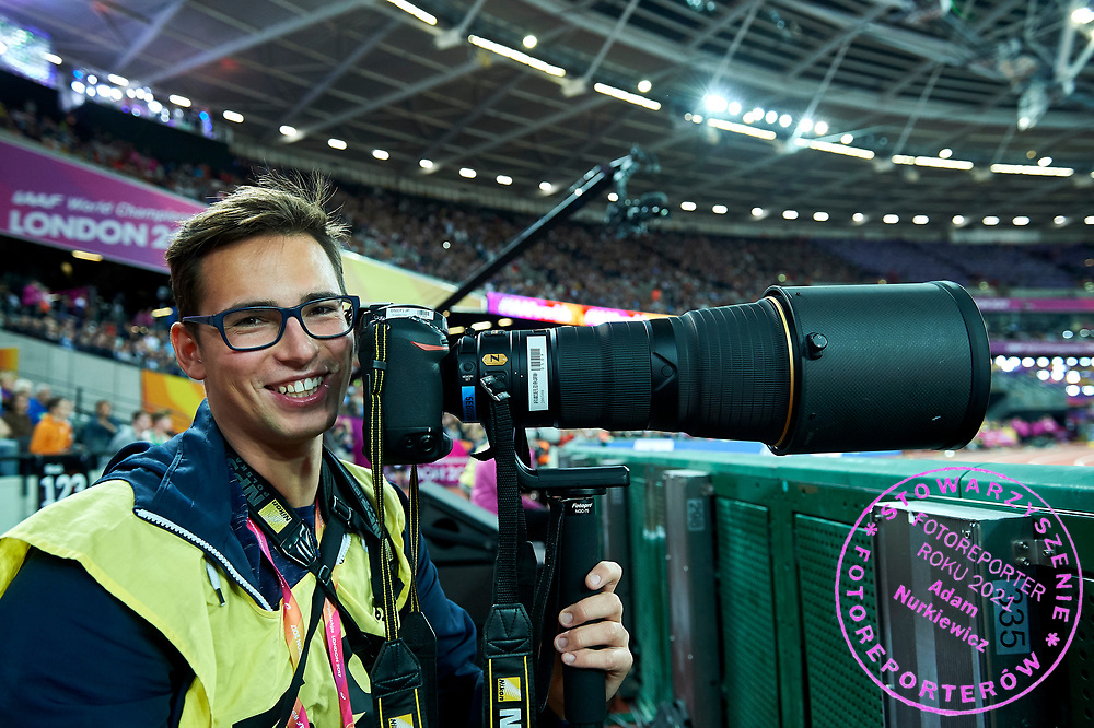 Great Britain, London - 2017 August 11: Photographer Pawel Skraba (Superexpress Daily) smiles during IAAF World Championships London 2017 Day 8 at London Stadium on August 11, 2017 in London, Great Britain.<br /> <br /> Mandatory credit:<br /> Photo by &copy; Adam Nurkiewicz<br /> <br /> Adam Nurkiewicz declares that he has no rights to the image of people at the photographs of his authorship.<br /> <br /> Picture also available in RAW (NEF) or TIFF format on special request.<br /> <br /> Any editorial, commercial or promotional use requires written permission from the author of image.