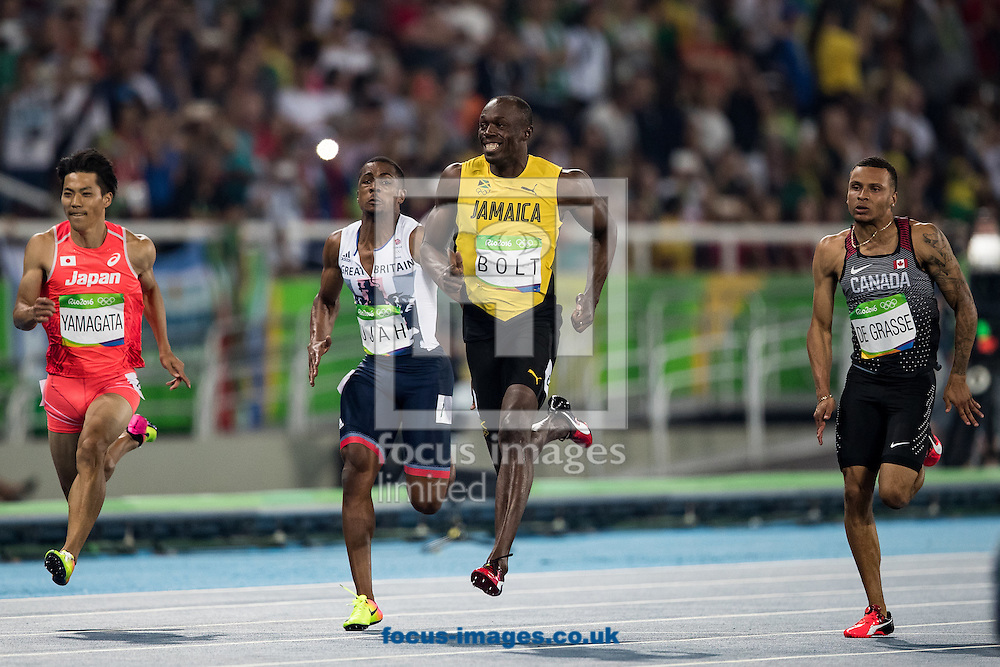 Usain Bolt of Jamaica during the Men's 100m Semi-final on day nine of the XXXI 2016 Olympic Summer Games in Rio de Janeiro, Brazil.<br /> Picture by EXPA Pictures/Focus Images Ltd 07814482222<br /> 14/08/2016<br /> *** UK &amp; IRELAND ONLY ***<br /> <br /> EXPA-GRO-160815-5437.jpg