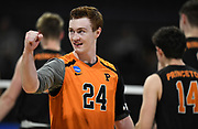 Princeton Tigers libero Corry Short (24) celebrates against the Pepperdine Waves during an NCAA Championships opening round match, Wednesday, April 30, 2019, in Long Beach, Calif. Pepperdine defeated Princeton 25-23, 19-25, 25-16, 22-25, 15-8.