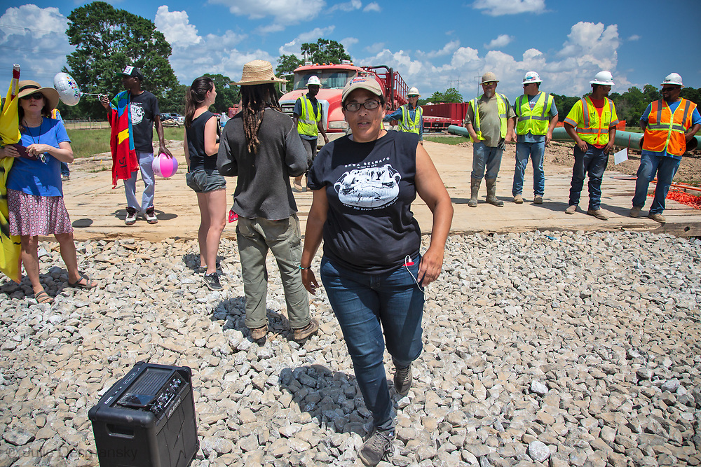 May 12, 2018, Maurice, Louisiana,  Cherri Foytlin with opponents of the Bayou Bridge Pipeline temporarily shut down a pipeline construction site. When the police arrive and tell the to disperse or face arrest, the group left. Opponents of the pipeline project started holding direct action protests shortly after construction began on the pipeline.