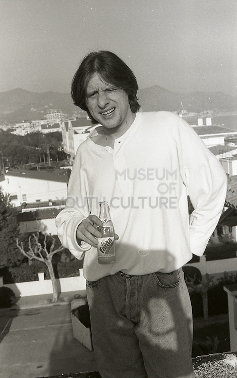 Shaun Ryder, Happy Mondays 'Step On' promotional music video shoot, Sitges, Spain, 1990