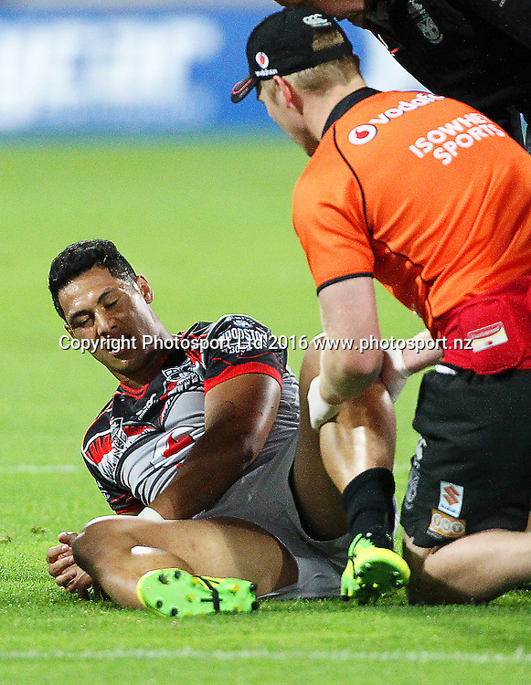 Warriors' Roger Tuivasa-Sheck is injured, early during the Round 7 NRL match, Canterbury-Bankstown Bulldogs v Vodafone Warriors at Westpac Stadium, Wellington. 16th April 2016. Copyright Photo.: Grant Down / www.photosport.nz