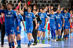 Matic Groselj and other players of Celje PL during handball match between Meshkov Brest and RK Celje Pivovarna Lasko in bronze medal match of SEHA- Gazprom League Final 4, on April 15, 2018 in Skopje, Macedonia. Photo by  Sportida
