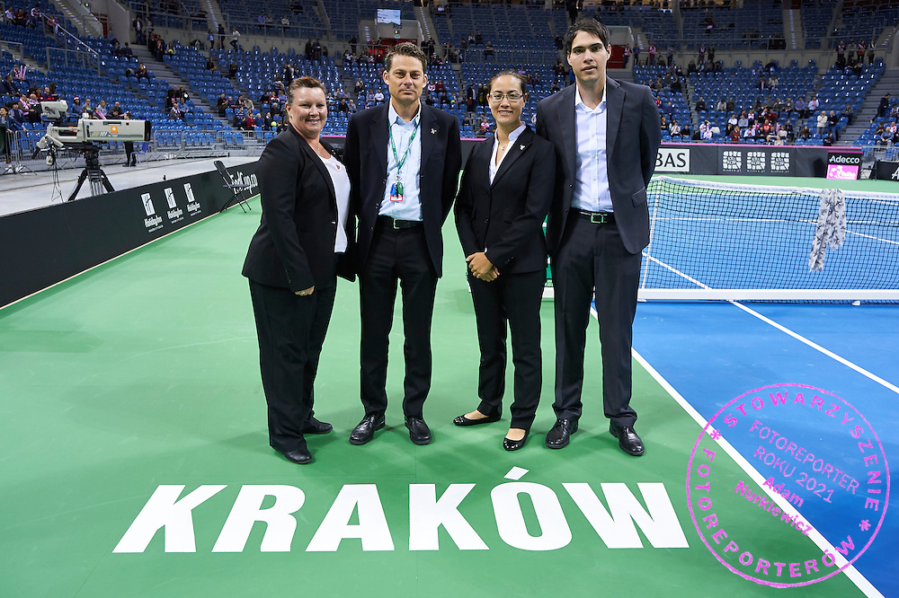 (L-R) British chair umpire Alison Hughes (former Lang) and Swiss Anreas Egli and Norway chair umpire Julie Kjendlie and ITF officer during Second Day of the Fed Cup / World Group 1st round tennis match between Poland and Russia at Tauron Krakow Arena on February 8, 2015 in Cracow, Poland.<br /> <br /> Poland, Cracow, February 8, 2015<br /> <br /> Picture also available in RAW (NEF) or TIFF format on special request.<br /> <br /> For editorial use only. Any commercial or promotional use requires permission.<br /> <br /> Adam Nurkiewicz declares that he has no rights to the image of people at the photographs of his authorship.<br /> <br /> Mandatory credit:<br /> Photo by &copy; Adam Nurkiewicz / Mediasport