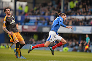 Cambridge United Forward Jimmy Spencer was booked for this trip on Portsmouth defender Christian Burgess during the Sky Bet League 2 match between Portsmouth and Cambridge United at Fratton Park, Portsmouth, England on 27 February 2016. Photo by Adam Rivers.