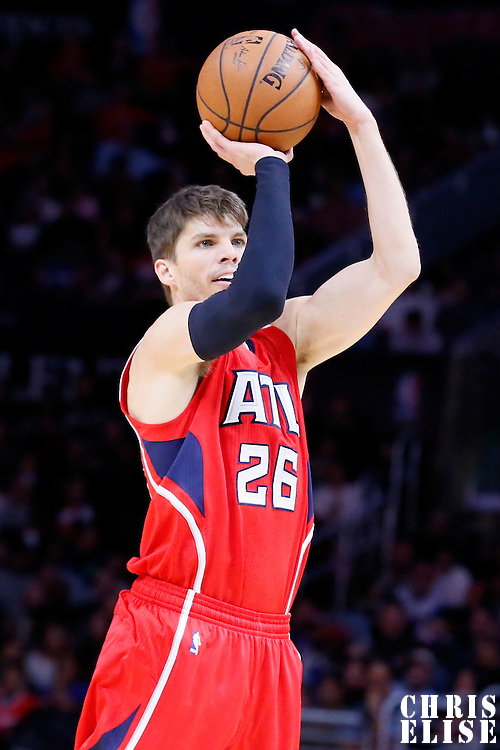 05 January 2014: Atlanta Hawks guard Kyle Korver (26) takes a jump shot during the Atlanta Hawks 107-98 victory over the Los Angeles Clippers, at the Staples Center, Los Angeles, California, USA.