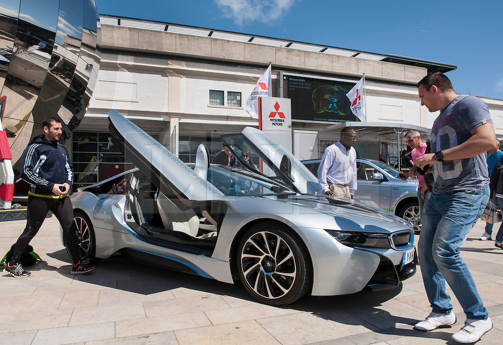 © Licensed to London News Pictures. 06/06/2015. Bristol, UK.  A BMW I8 fully electric car, at a display of electric, hybrid, and low emission vehicles at Bristol's Millennium Square sponsored by EDF energy. The cars are engineered to produce no or low emissions and pollution to reduce the impact of transport on the environment.  Photo credit : Simon Chapman/LNP