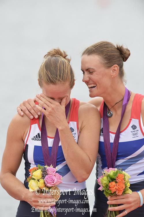 Eton Dorney, Windsor, Great Britain,..2012 London Olympic Regatta, Dorney Lake. Eton Rowing Centre, Berkshire[ Rowing]...Description;   Women's Pair Final Gold Medalist   GBR W2- Helen GLOVER (b) , Heather STANNING (s)  Dorney Lake. ..12:26:02  Wednesday  01/08/2012..[Mandatory Credit: Peter Spurrier/Intersport Images].