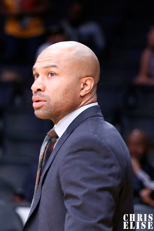 12 March 2015: New York Knicks head coach Derek Fisher is seen during the New York Knicks 101-94 victory over the Los Angeles Lakers, at the Staples Center, Los Angeles, California, USA.