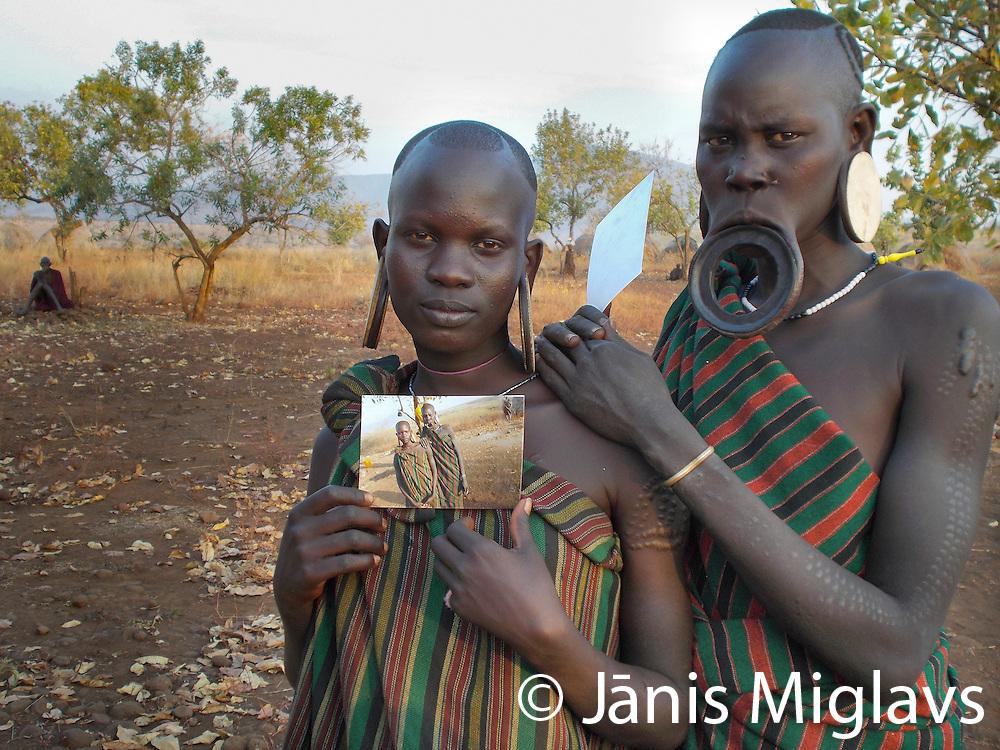 Africa, Ethiopia, Mago National Park. Photographs taken by Mamoosh, a Mursi warrior, around the Belle Village, Mursi Tribe.