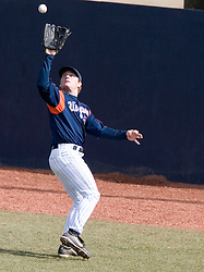 Virginia Cavaliers outfielder Brandon Marsh (9)makes a catch against Delaware.  The Virginia Cavaliers Baseball Team defeated the Delaware Blue Hens 3-2 to complete the sweep of a three game series at Davenport Field in Charlottesville, VA on March 4, 2007.