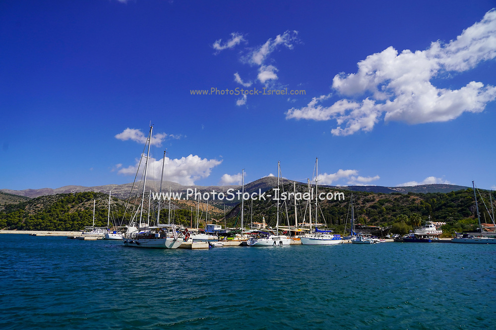 Boats and yachts in the Argostoli harbour On the Greek Island of Cephalonia, Ionian Sea, Greece
