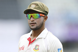 August 28, 2017 - Mirpur, Bangladesh - Bangladesh's Sakib Al Hasan fields against Australia  during day two of the First Test match between Bangladesh and Australia at Shere Bangla National Stadium on August 28, 2017 in Mirpur, Bangladesh. (Credit Image: © Ahmed Salahuddin/NurPhoto via ZUMA Press)