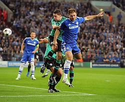 Chelsea's Branislav Ivanovic flicks the ball on for Chelsea's Fernando Torres to score - Photo mandatory by-line: Joe Meredith/JMP - Tel: Mobile: 07966 386802 22/10/2013 - SPORT - FOOTBALL - Veltins-Arena - Gelsenkirchen - FC Schalke 04 v Chelsea - CHAMPIONS LEAGUE - GROUP E