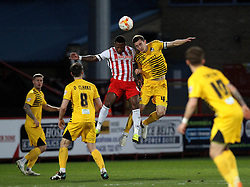 Tom Lockyer of Bristol Rovers beats Aaron O'Connor of Stevenage in the air - Mandatory by-line: Robbie Stephenson/JMP - 19/04/2016 - FOOTBALL - Lamex Stadium - Stevenage, England - Stevenage v Bristol Rovers - Sky Bet League Two