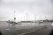 airport Munich Germany with still some wet snow on the tarmac