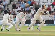 Ben Stokes of England hits one straight to short leg off R Ashwin of India during the 3rd International Test Match 2018 match between England and India at Trent Bridge, West Bridgford, United Kingdon on 21 August 2018.