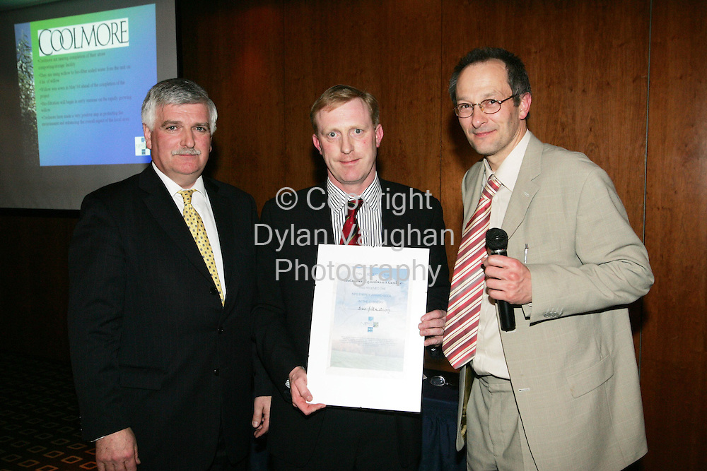 10/3/2005.NPS honours pioneers of the renewable energy industry.. ..Natural Power Supply Ltd, the Waterford-based renewable energy company, presented awards for outstanding achievement in helping protect the environment to broadcaster and architect, Duncan Stewart; Coolmore Stud, Co Tipperary and to Diageo's St Francis Abbey Brewery in Kilkenny, at a function in Kilkenny last night (March 9)... ..Duncan Stewart received the award for his work in ecological design and the promotion of renewable energy technologies.  Coolmore  was recognised for a project which uses willow to filter soiled water from the stud farm. The Diageo brewery in Kilkenny received the award for being the first company in Ireland to use a willow bio-filtration system to treat by-products from the beer-making process... ..Others to be recognised for their contribution to the environment  were the Co. Cork builders, Eco Construction, Macroom, for their use of renewable energy technologies; Grainger Saw Mills, Enniskeane, Co. Cork, for its combined heat and power plant powered by wood; Tipperary Institute for the introduction of  a Renewable Energy Certificate course and other inspirational work in the promotion of renewable energy; Waterford Chamber of Commerce, which was named the leading chamber of commerce in driving renewable energy; Teagasc Oak Park Research Centre in Carlow, for its pioneering work in research and trails of sustainable and renewable energy crops; Coillte for its 'best-practice' environment-friendly headquarters in Newtownmountkenny, Co Wicklow and Sustainable Energy Ireland for its sustainable energy information service..Pictured at the awards was from left James Kennedy (MD Natural Power Supply), Joe Houlihan (Coolmore Stud) and Dr. Christian Rakos (SWS).. ..Picture Dylan Vaughan