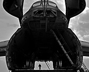 Airmen prepare a C-5 Galaxy for cargo, April 2, 2011, at Joint Base Andrews, Md. Ground crews are able to load and off-load the C-5 simultaneously at the front and rear cargo openings, reducing cargo transfer times.