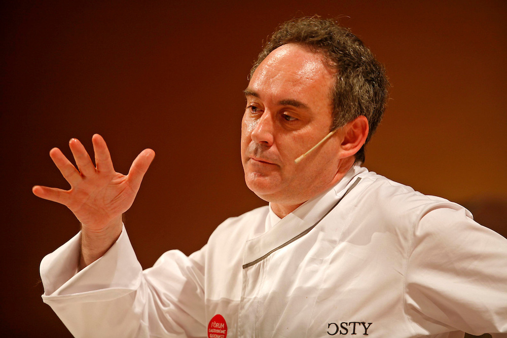 The best Catalan cooks of the guide Michelin. Chef Ferran Adria  of restaurant El Bulli in a gastronomical exhibition.