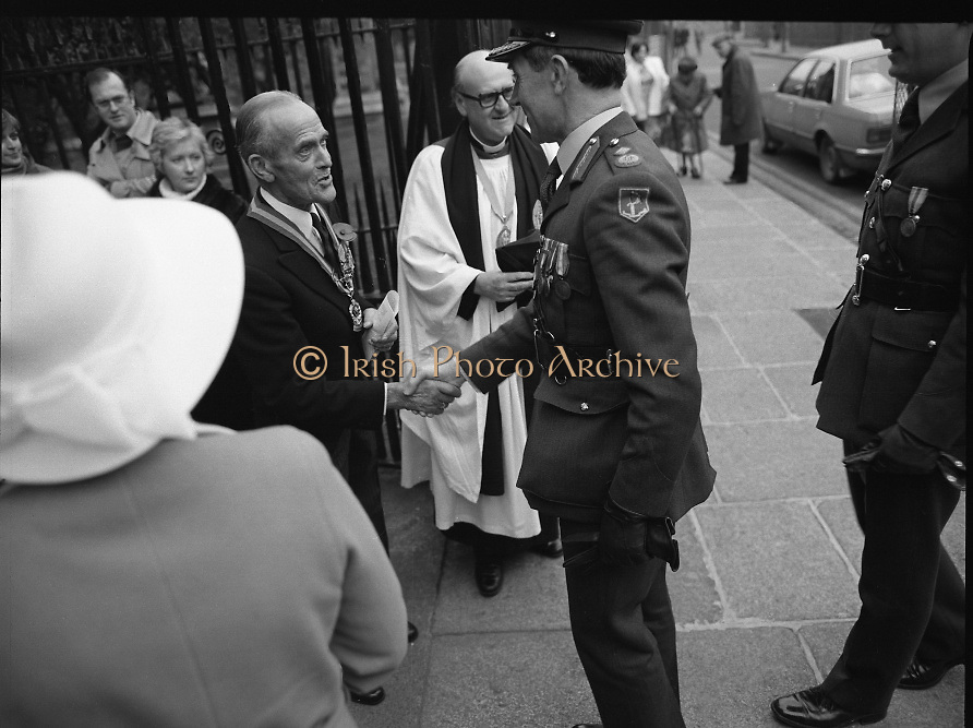 Remembrance Day Service.1983.13.11.1983.11.13.1983.13th November 1983..A remembrance service was held in St Patrick's Cathederal, Dublin,(Poppy Day) to commerate the Irish Fallen who died  whilst on service with the British Army in the two World Wars..Image of High Ranking Officers in the Irish Military being greeted by Mr Reginald Irvine-George O.B.E,Area Chairman,Royal British Legion, on their arrival at the service.