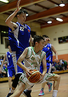 21 Aug 2016:  James Cummins, Moycullen, in action against Aaron Connelly, left, Malahide.  Boys U16 Basketball final, Malahide, Dublin v Moycullen, Galway. 2016 Community Games National Festival 2016.  Athlone Institute of Technology, Athlone, Co. Westmeath. Picture: Caroline Quinn