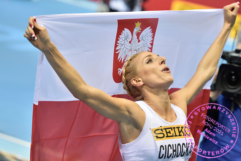 Angelika Cichocka from Poland celebrates her silver medal in women's 800 meters during the IAAF Athletics World Indoor Championships 2014 at Ergo Arena Hall in Sopot, Poland.<br /> <br /> Poland, Sopot, March 9, 2014.<br /> <br /> Picture also available in RAW (NEF) or TIFF format on special request.<br /> <br /> For editorial use only. Any commercial or promotional use requires permission.<br /> <br /> Mandatory credit:<br /> Photo by &copy; Adam Nurkiewicz / Mediasport