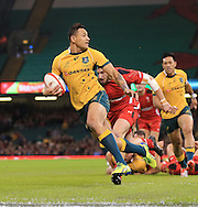 Israel Folau of Australia about to score a try during the International Test Match match at the Millennium Stadium, Cardiff<br /> Picture by Michael Whitefoot/Focus Images Ltd 07969 898192<br /> 08/11/2014