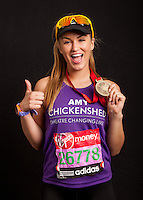 Amy Willerton, model, Miss Universe Great Britain 2013 (ex I'm a Celebrity…) <br /> . Portraits of celebrities shortly after they have crossed the line to finish the Virgin Money London Marathon 2014 at the finish line on Sunday 13 April 2014<br /> Photo: Dillon Bryden/Virgin Money London Marathon<br /> media@london-marathon.co.uk