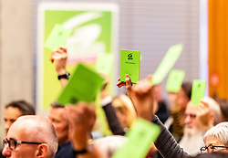 06.04.2019, Volkshaus Pichling, Linz, AUT, Landesversammlung die Grünen Oberösterreich, Wahl des Landessprechers, im Bild Wahlkarten // during the provincial assembly of the OÖ Greens with election of the country speaker at the Volkshaus Pichling in Linz, Austria on 2019/04/06. EXPA Pictures © 2019, PhotoCredit: EXPA/ JFK