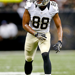 Aug 16, 2013; New Orleans, LA, USA; New Orleans Saints wide receiver Nick Toon (88) against the Oakland Raiders during the first quarter of a preseason game at the Mercedes-Benz Superdome. Mandatory Credit: Derick E. Hingle-USA TODAY Sports