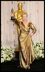 Meryl Streep nominated  best leading actress for the Oscars 2014.<br /> Meryl Streep with her Oscar for Best Actress at  the 84th Annual Academy Awards held  in Hollywood, California on Sunday, February 26, 2012. Photo by: i-Images