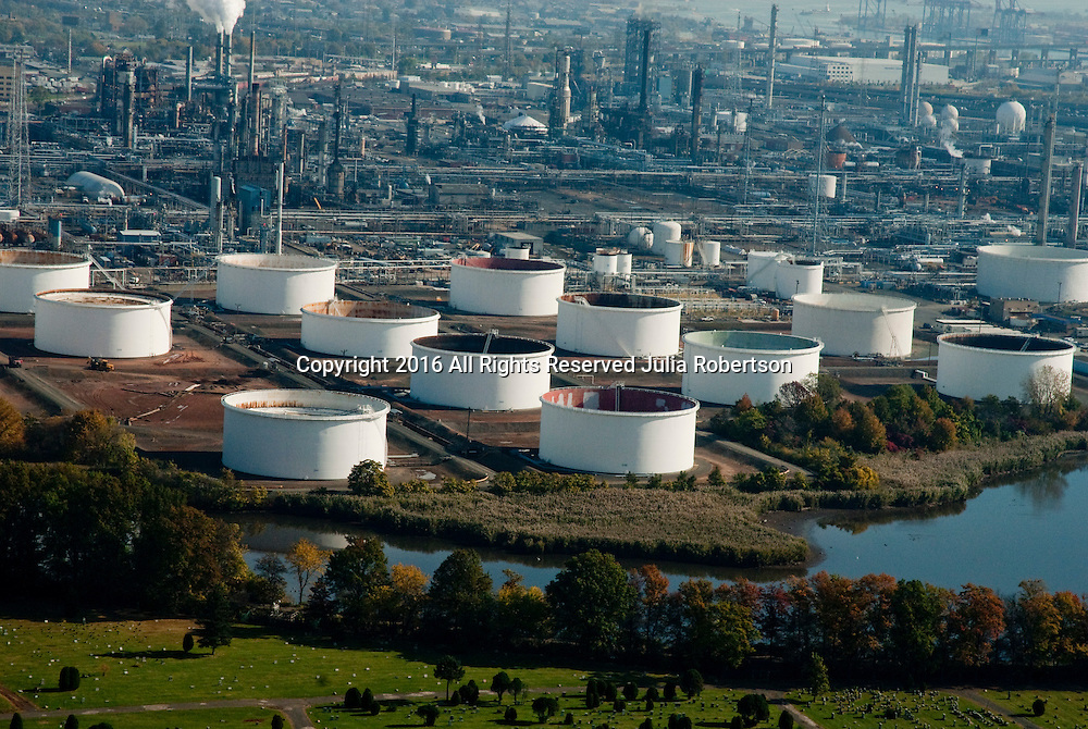 Aerial view of Petroleum Terminal Tank Farm in Linden New Jersey