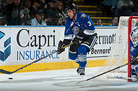 KELOWNA, CANADA - MARCH 7: Ryan Gagnon #3 of the Victoria Royals skates with the puck behind the net against the Kelowna Rockets on March 7, 2017 at Prospera Place in Kelowna, British Columbia, Canada.  (Photo by Marissa Baecker/Shoot the Breeze)  *** Local Caption ***