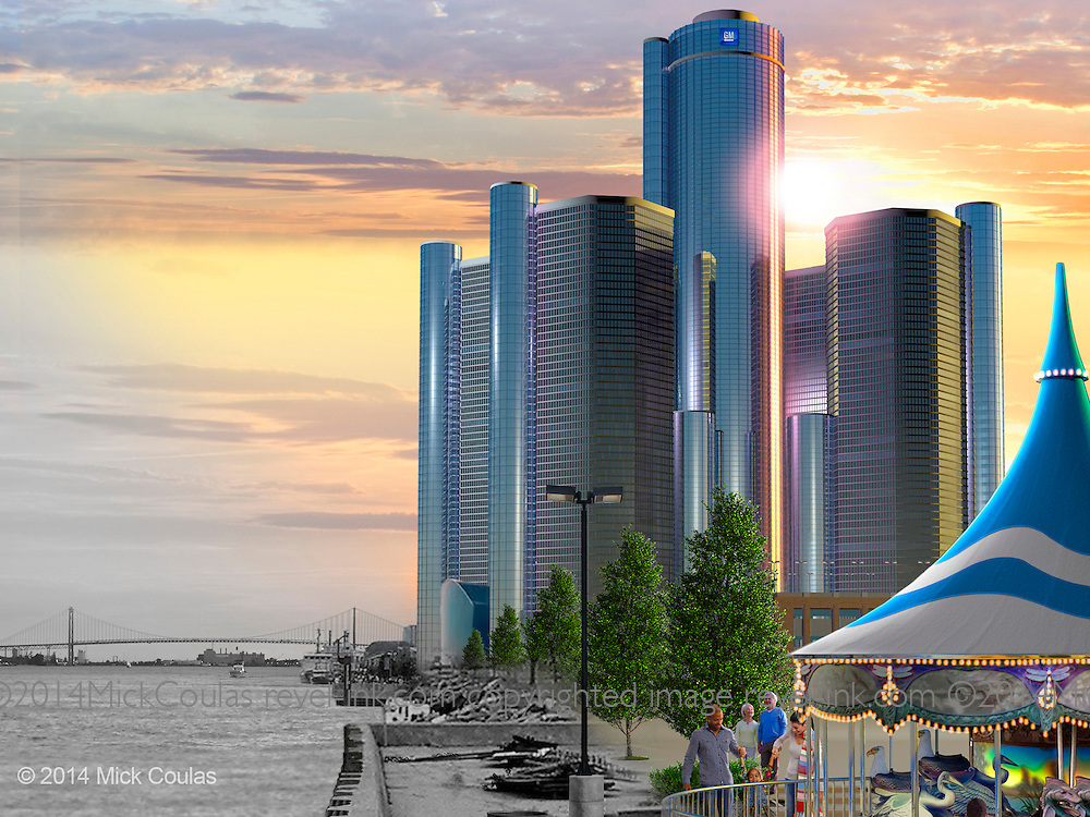 dbusiness Magazine Cover (Sept 2014) of the new River Walk, and the GM Renaissance Center contrasted with before scene. 3D modeling and Photoshop. See client comments in Blog: http://mickcoulas-revel-ink.photoshelter.com/#!/blog