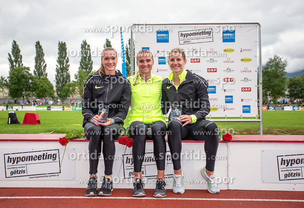 29.05.2016, Moeslestadion, Goetzis, AUT, 42. Hypo Meeting Goetzis 2016, Siebenkampf der Frauen, Siegerehrung, im Bild zweiter Platz Laura Ikauniece Admindina (LAT), Siegerin Eaton Brianne Theisen (CAN), dritter Platz Carolin Schaefer (GER) // v. l. second Placed Laura Ikauniece Admindina of Latvia ( L ) Winner Eaton Brianne Theisen of Canada ( C ) third Place Carolin Schaefer of Germany ( R ) during the Winner Award Ceremony of the Heptathlon competition at the 42 th Hypo Meeting at the Moeslestadion in Goetzis, Austria on 2016/05/29. EXPA Pictures © 2016, PhotoCredit: EXPA/ Peter Rinderer