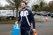 AFC Wimbledon defender Callum Kennedy (23) arrives  during the EFL Sky Bet League 1 match between AFC Wimbledon and Bradford City at the Cherry Red Records Stadium, Kingston, England on 23 December 2017. Photo by Simon Davies.