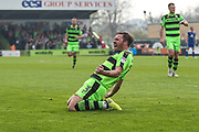 Forest Green Rovers Scott Laird(3) scores a goal 1-0 and celebrates during the EFL Sky Bet League 2 match between Forest Green Rovers and Chesterfield at the New Lawn, Forest Green, United Kingdom on 21 April 2018. Picture by Shane Healey.