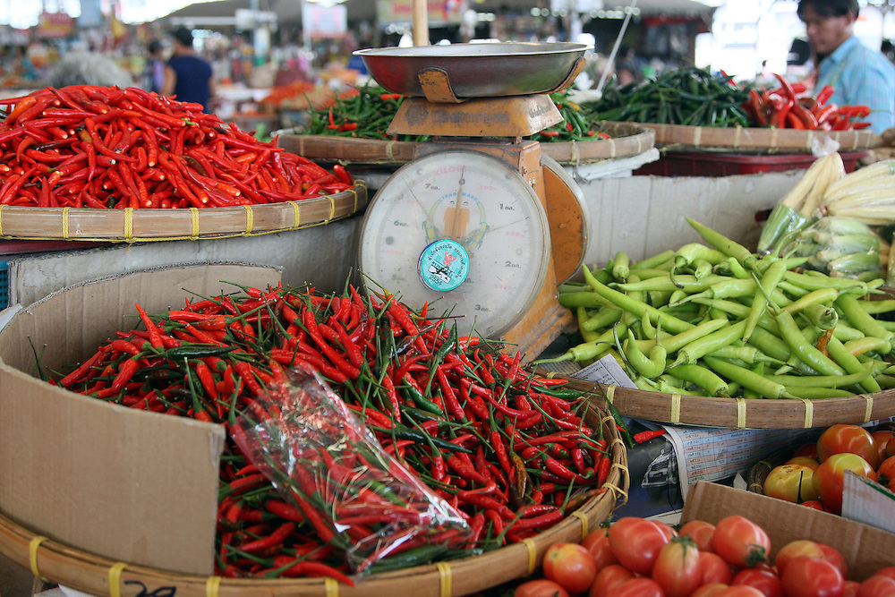 An assortment of chillis for sale at the wholesale market Talat Thai in Pathum Thani, Thailand, Tuesday, July 19, 2011. Credit:SNPA / Dianne Manson.