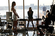 NEW YORK, NY - SEPTEMBER 04:  Models getting ready backstage for  Kempner Spring 2015 Presentation at the Glass Houses on September 4, 2014 in New York City.  (Photo by Joe Kohen/Getty Images)