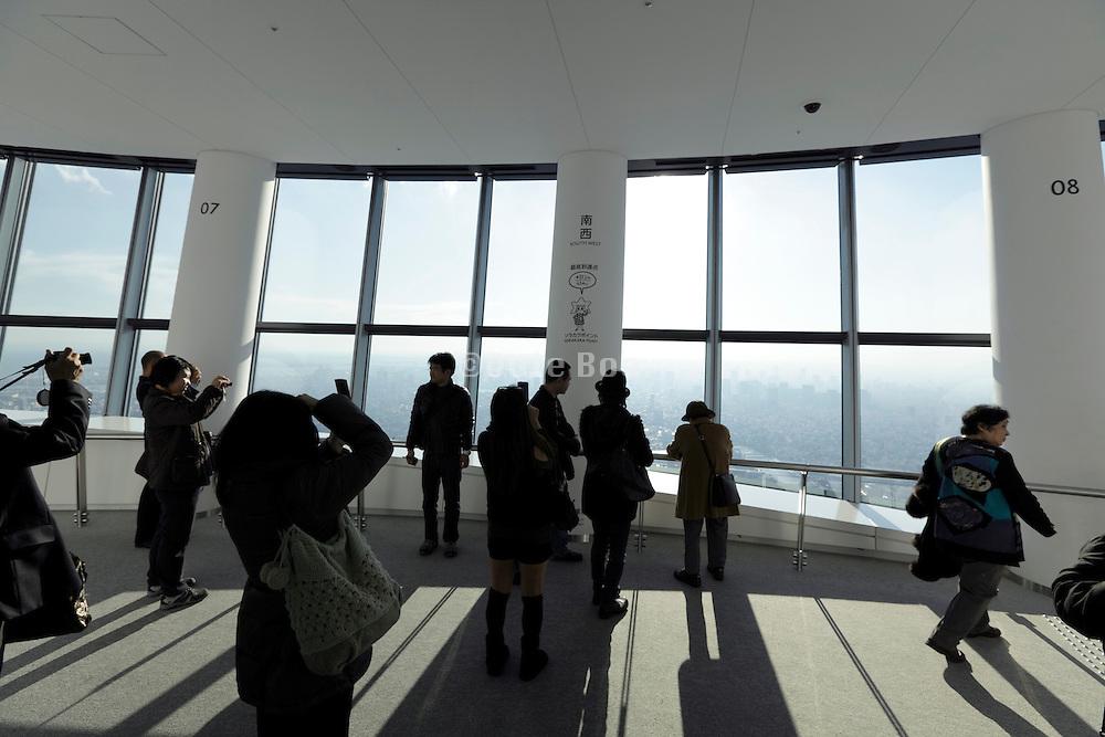 Skytree Tower people on Tembo Galleria Sorakara point floor 450 at 451,2 meter highest point visitors can reach