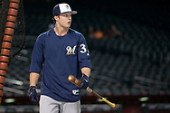 PHOENIX, AZ - JUNE 09:  Brett Phillips #33 of the Milwaukee Brewers during batting practice prior to the MLB game against the Arizona Diamondbacks at Chase Field on June 9, 2017 in Phoenix, Arizona. The Milwaukee Brewers won 8-6.  (Photo by Jennifer Stewart/Getty Images)