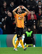 Goal - Joao Moutinho (28) of Wolverhampton Wanderers celebrates after he scores a goal to give a 0-1 lead to the away team  during the Premier League match between Bournemouth and Wolverhampton Wanderers at the Vitality Stadium, Bournemouth, England on 23 November 2019.