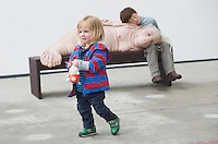 "12/07/2015 repro free.  Jude McEllistrim (LHS) 20 months at The Galway International Arts Festival, Patricia Piccinini's   exhibition ""Relativity"" at the Prints works Galway. The exhibition will run at the gallery for the duration of the Galway International Arts Festival from July 13-26.  <br /> Photo:Andrew Downes:XPOSURE  <br /> Patricia is one of Australia's most acclaimed artists."
