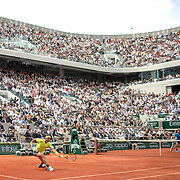 PARIS, FRANCE June 09.  Rafael Nadal of Spain in action against Dominic Thiem of Austria during the Men's Singles Final on Court Philippe-Chatrier at the 2019 French Open Tennis Tournament at Roland Garros on June 9th 2019 in Paris, France. (Photo by Tim Clayton/Corbis via Getty Images)