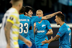 February 21, 2019 - Saint Petersburg, Russia - Zenit St.Petersburg's Iranian forward Sardar Azmoun celebrates with teammates after scoring a goal during the UEFA Europa League round of 32 second leg football match between FC Zenit and Fenerbahce SK in Saint Petersburg on February 21, 2019. (Credit Image: © Igor Russak/NurPhoto via ZUMA Press)