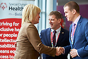 Graz, Austria - 2017 March 18: (L-R) Marina Tomilova from Russia (Vice Minister of Sports) and Krzysztof Krukowski (Director Organizational Development Europe Eurasia Region Special Olympics) and Witold Banka (Polish Sports Minister) talk during Global Forum on Inclusion in Social Affairs and Sports while Special Olympics World Winter Games Austria 2017 at Convention Centre Messe Graz on March 18, 2017 in Graz, Austria.<br /> <br /> Mandatory credit:<br /> Photo by &copy; Adam Nurkiewicz / Mediasport<br /> <br /> Adam Nurkiewicz declares that he has no rights to the image of people at the photographs of his authorship.<br /> <br /> Picture also available in RAW (NEF) or TIFF format on special request.<br /> <br /> Any editorial, commercial or promotional use requires written permission from the author of image.<br /> <br /> Image can be used in the press when the method of use and the signature does not hurt people on the picture.