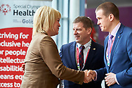 Graz, Austria - 2017 March 18: (L-R) Marina Tomilova from Russia (Vice Minister of Sports) and Krzysztof Krukowski (Director Organizational Development Europe Eurasia Region Special Olympics) and Witold Banka (Polish Sports Minister) talk during Global Forum on Inclusion in Social Affairs and Sports while Special Olympics World Winter Games Austria 2017 at Convention Centre Messe Graz on March 18, 2017 in Graz, Austria.<br /> <br /> Mandatory credit:<br /> Photo by © Adam Nurkiewicz / Mediasport<br /> <br /> Adam Nurkiewicz declares that he has no rights to the image of people at the photographs of his authorship.<br /> <br /> Picture also available in RAW (NEF) or TIFF format on special request.<br /> <br /> Any editorial, commercial or promotional use requires written permission from the author of image.<br /> <br /> Image can be used in the press when the method of use and the signature does not hurt people on the picture.